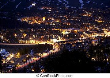 Breckenridge at Night - Town of Breckenridge at Night -...