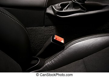 Car Seat Belt Modern Car Interior and Seat Belt Closeup,...