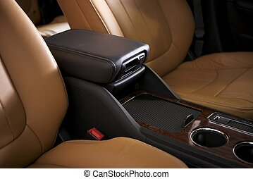 Car Leather Seats and Arm Rest. Modern Vehicle Interior...