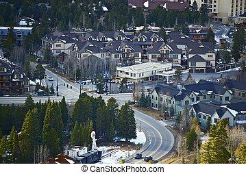 Breckenridge Bird Eye View. City Closeup. Breckenridge...