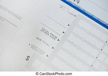 Bank Deposit Form - Total From Other Side Closeup. Blank...