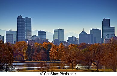 City of Denver Skyline City Park Landscape Capital of the US...