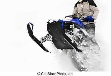 Snowmobile Jump. Extreme Snowmobile Ride. Winter Recreation