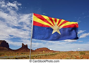 Arizona Flag on Wind. Arizona State Desert Landscape Near...