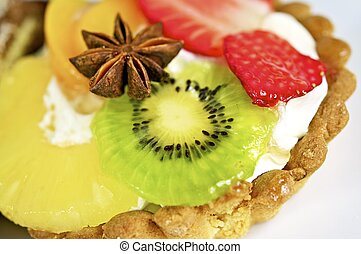 Sweet Dessert with Kiwi, Strawberries and Pineapple Desserts...