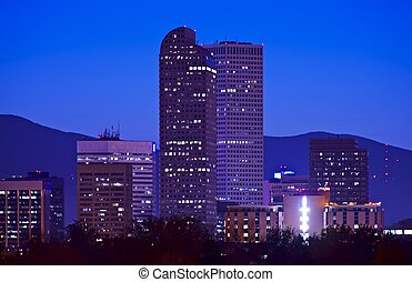 Downtown Denver City Skyline at Night Denver, Colorado, USA...