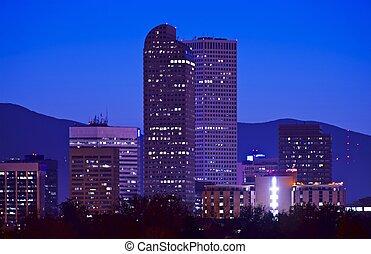 Downtown Denver City Skyline at Night. Denver, Colorado,...