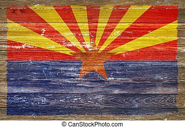Arizona Flag on Wood Wall. Grunge Wooden Arizona Flag
