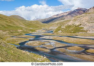 Mountain river Jil-Suu in Kirgizstan - Mountain river...
