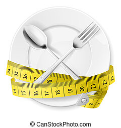 Diet concept - Plate with measuring tape and crossed fok and...