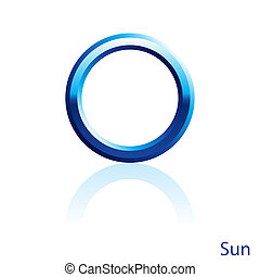 Sun sign. - Shiny blue Sun sign on white background.