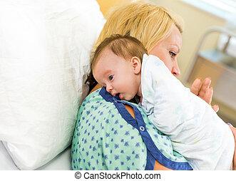 Babygirl Resting On Mother's Shoulder In Hospital - Cute...