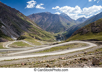 Winding road in Tien Shan mountains, Kirgizstan
