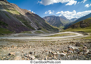 Road going to Sary-Moinok pass. Kirgizstan - Twisting road...