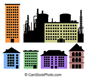 Set of houses and factory vector background for poster