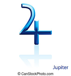 Jupiter sign - Shiny blue Jupiter sign on white background...
