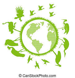 Birds set around world vector background