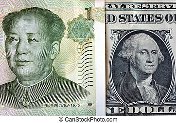 Chinese Yuan on American Dollar - One Chinese Yuan bill (Mao...