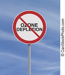 Ozone Depletion - An environmental road sign against ozone...