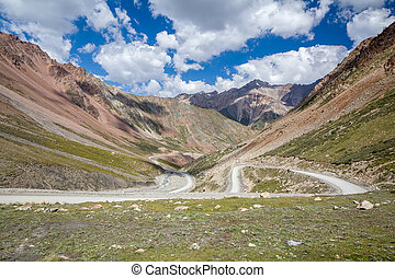 Road going to Barskoon pass. Kyrgyzstan - Road going to...