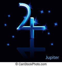 Jupiter sign - Shiny blue Jupiter sign on black background