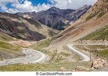 Twisting road from Kumtor gold mine, Kirghiizia - Twisting...