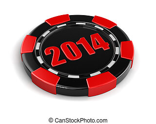 casino chip 2014 Image with clipping path