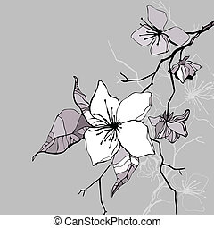 Beautiful flower. Hand drawn vector illustration - Floral...