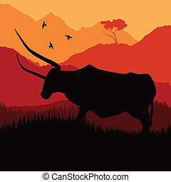 Angry bull in wild spanish country side landscape