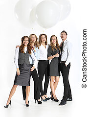 Successful people - Group of five young business people...