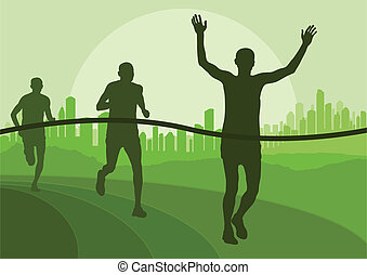 Marathon runners running silhouettes vector for poster