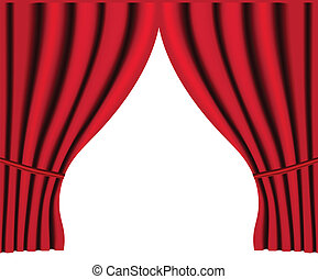 Theater stage with red curtain vector background