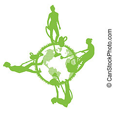 Cleaners cleaning planet vector background ecology concept...