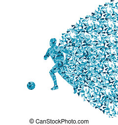 Soccer player silhouette made of triangle fragments vector...