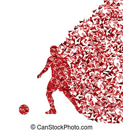 Soccer player silhouette made of triangle fragments vector abstract background for poster