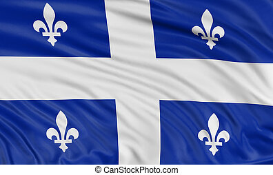 3D Quebec Flag - Rendering of flag Quebec with fabric...