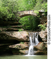 Hocking Hills, Ohio - Bridge and waterfall in Hocking Hills...