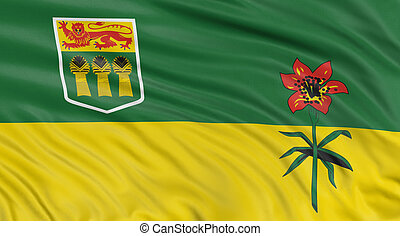 3D Saskatchewan Flag - Rendering of flag Saskatchewan with...