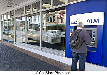 Bank of New Zealand BNZ - AUCKLAND - OCT 10:Man use Bank of...