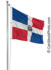 3D Dominican Republic flag with fabric surface texture White...