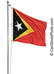 3D East Timor flag with fabric surface texture White...