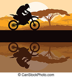 Motorbike rider motorcycle silhouette in wild mountain landscape background illustration vector