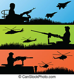 Army soldiers, planes, helicopters and guns background -...
