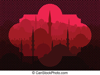 Vintage turkish city Istanbul landscape illustration
