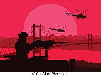 Army soldier in desert landscape background illustration