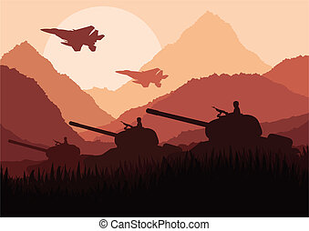 Army soldier in desert landscape background illustration