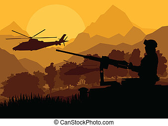 Army soldier with helicopters, guns and transportation in...