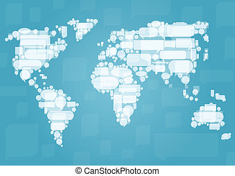 World map made of white cloud speech bubbles in concept illustration background vector for poster