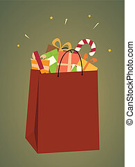 Shopping Bag of Christmas Gifts - A bag full of colorful...