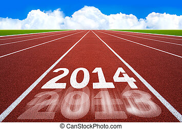 New Year 2014 on running track concept with blue sky - New...